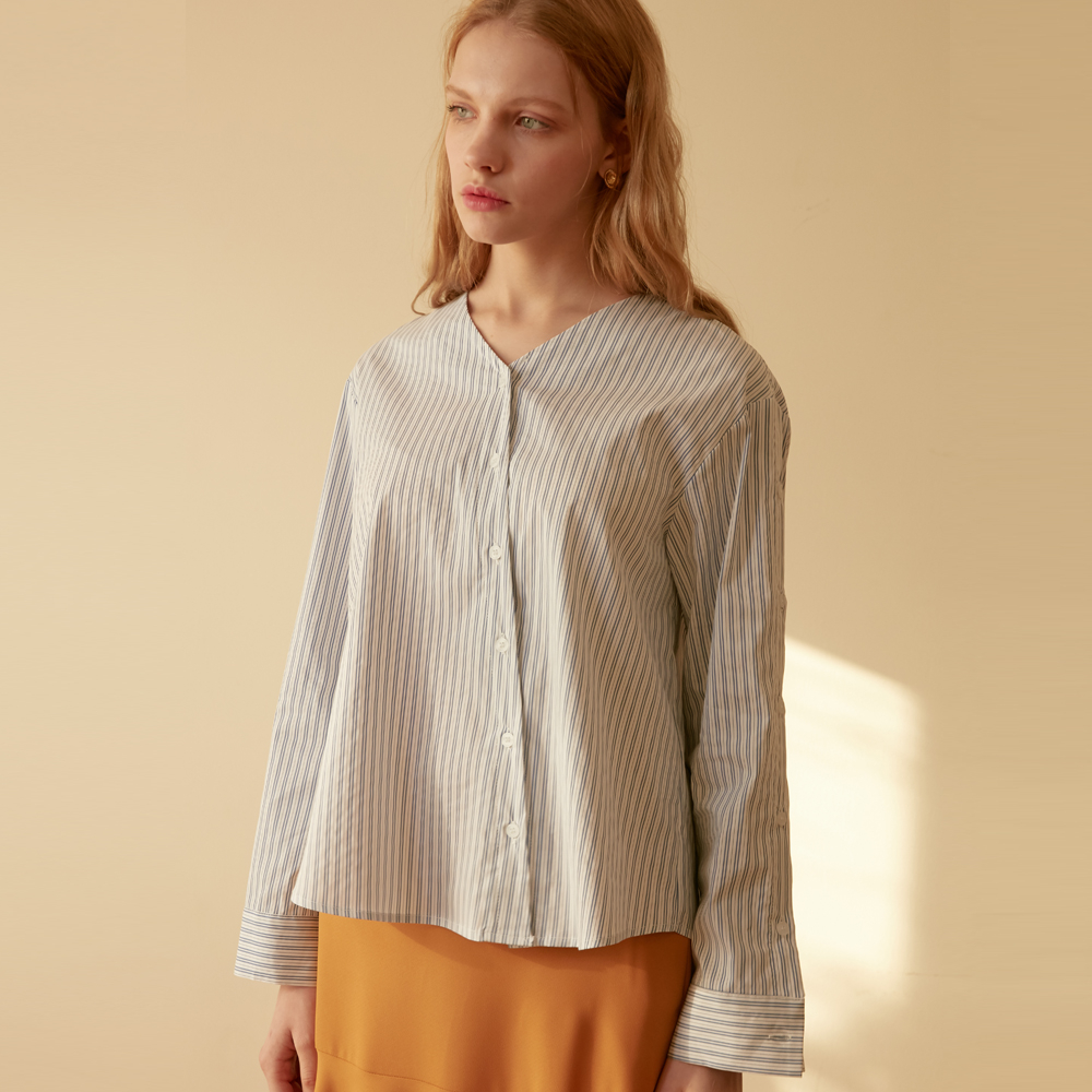 [엽페] DIAGONAL STRIPE SHIRTS_WHITE