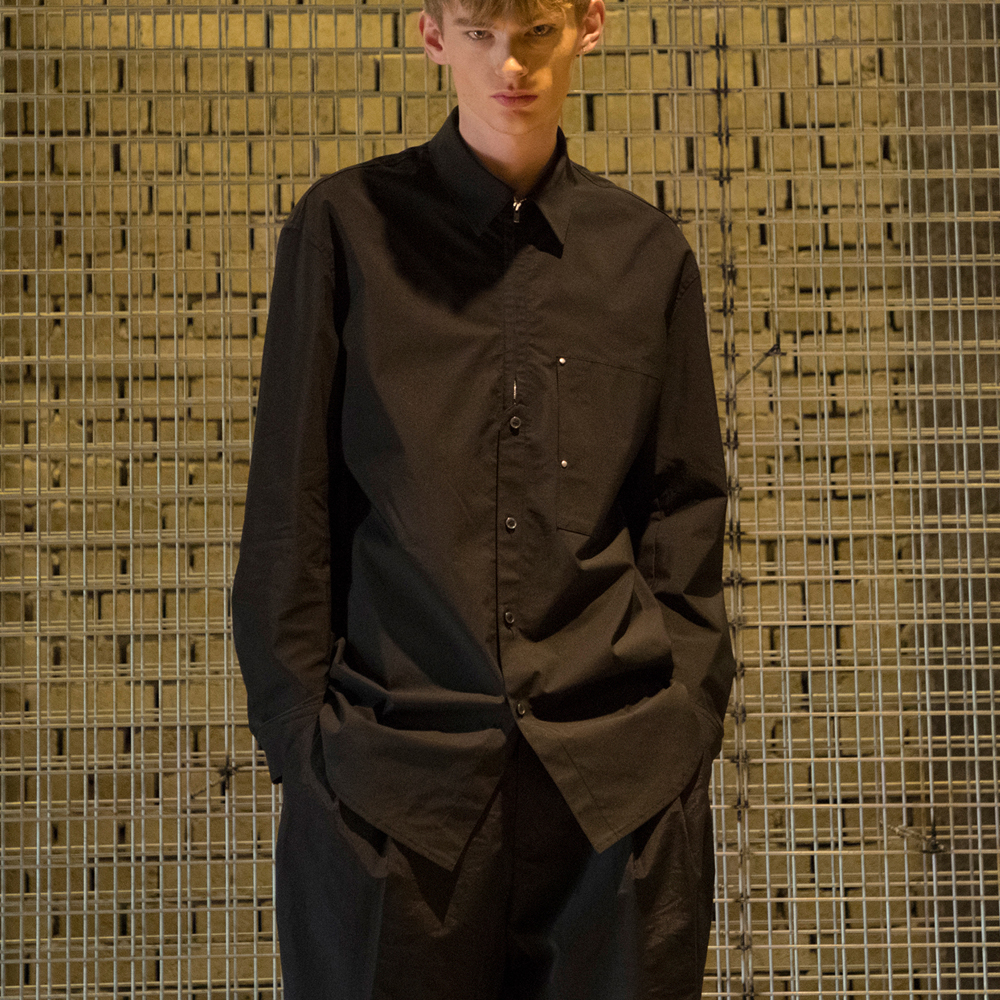 [노이어] Tailored Zip-Up Shirts Black