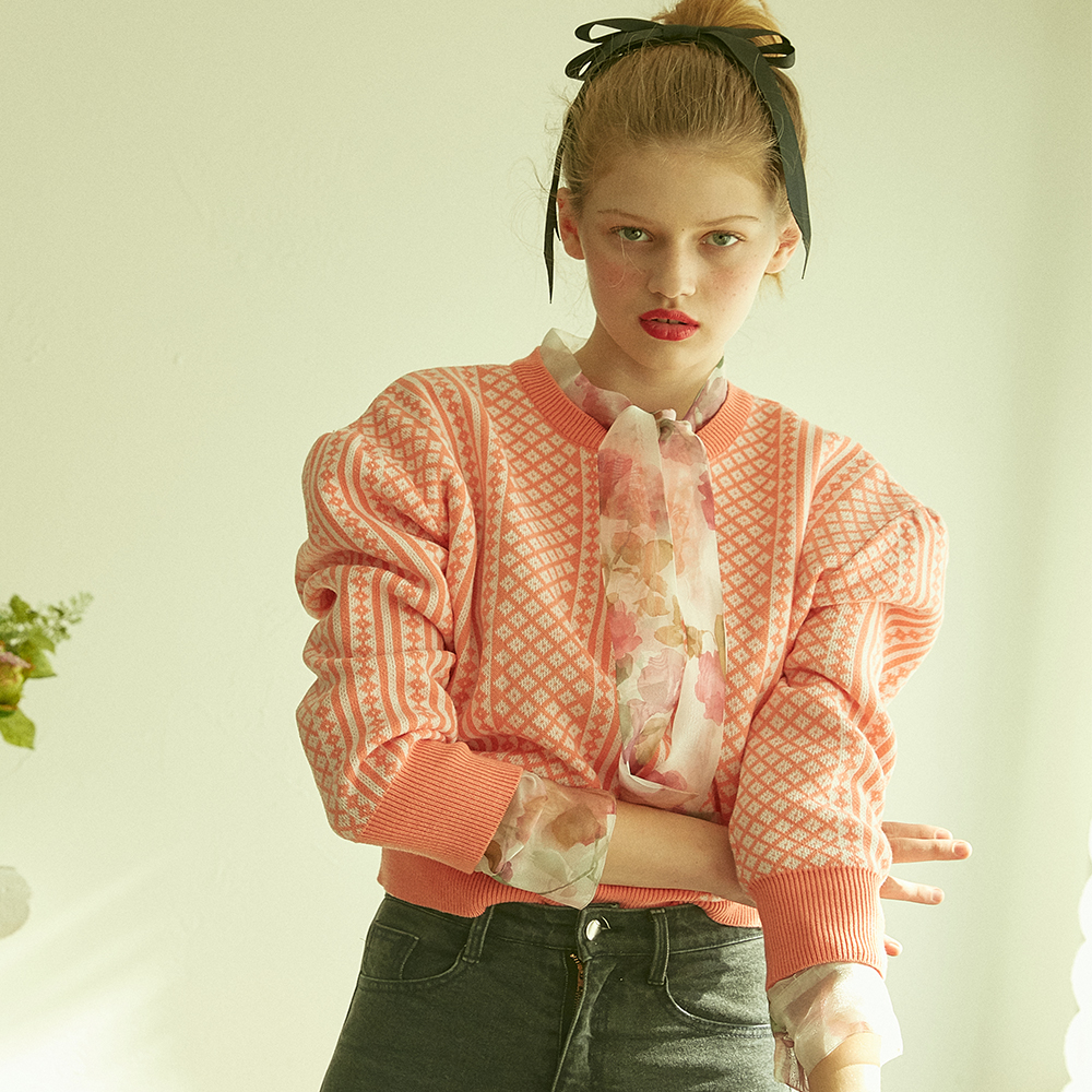 [바이탈사인] Plaided Retro Knit (Coral Pink)