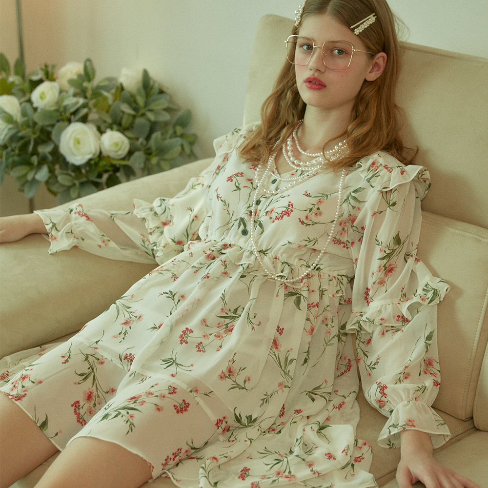 [바이탈사인] Printed Floral Frilly Chiffon Unbalanced Dress