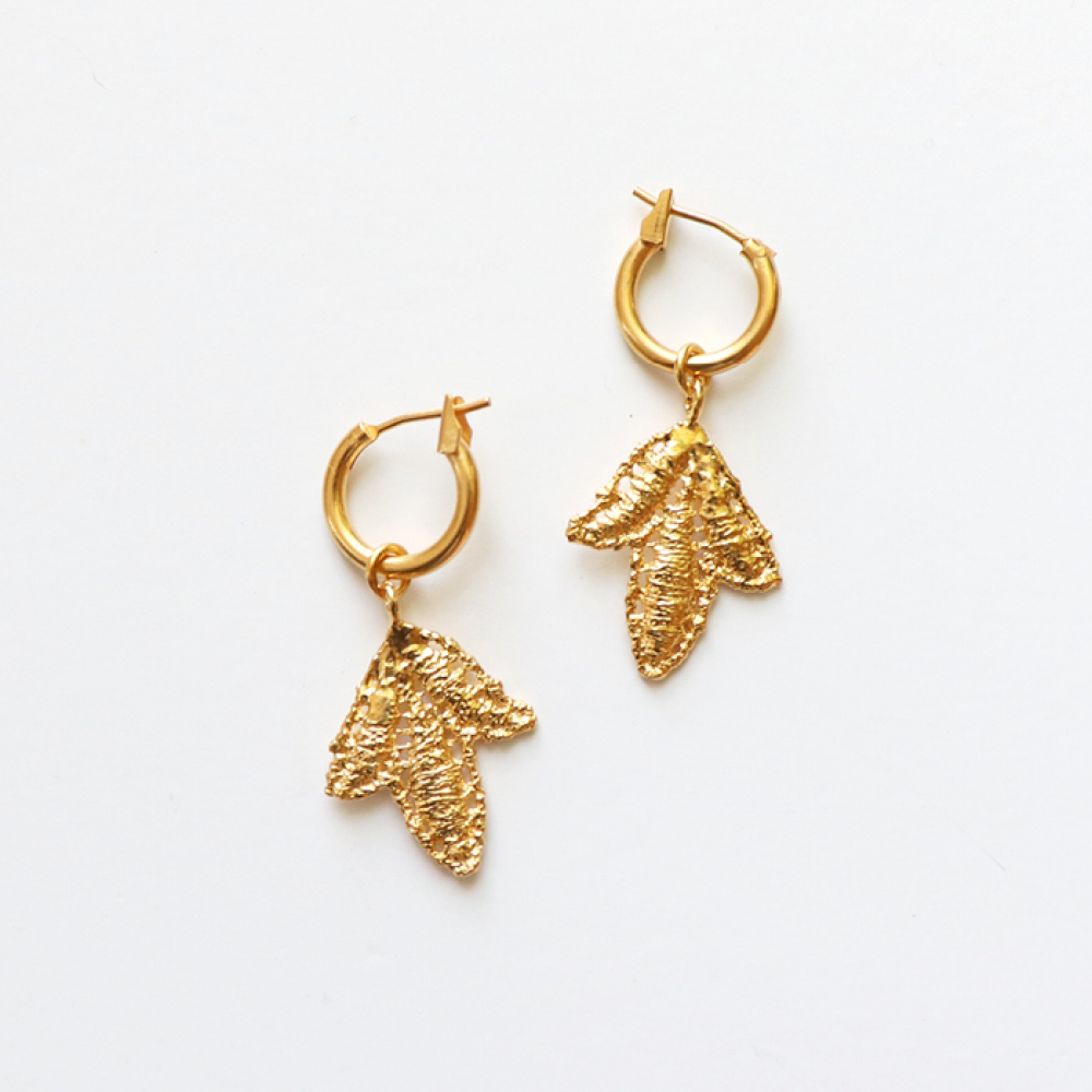 [엘리오나] Fig Leaf Earrings