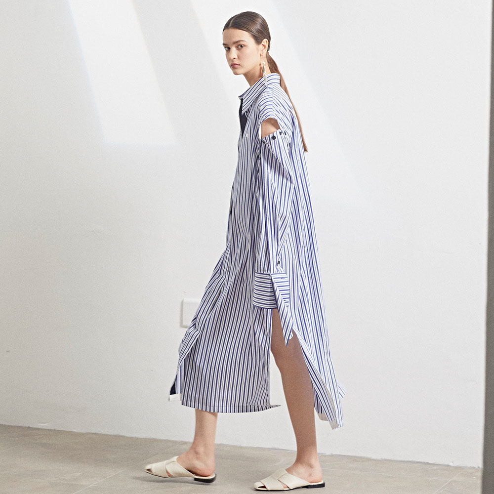 [MUSEE]Rhea sleeve detachable long shirt dress_BS