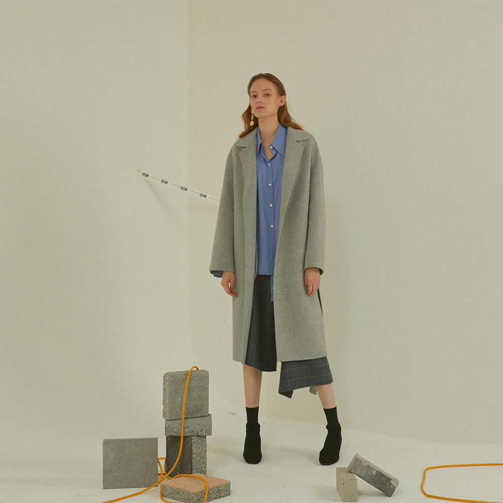[MUSEE]Manet cashmere blended wool coat  _ gray