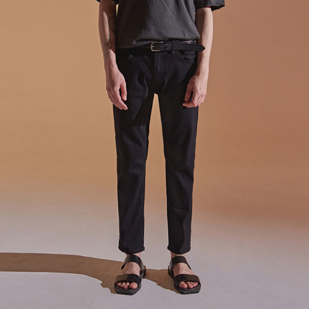 [DEANS] NEW COTTON TAPERED PANTS_BLACK
