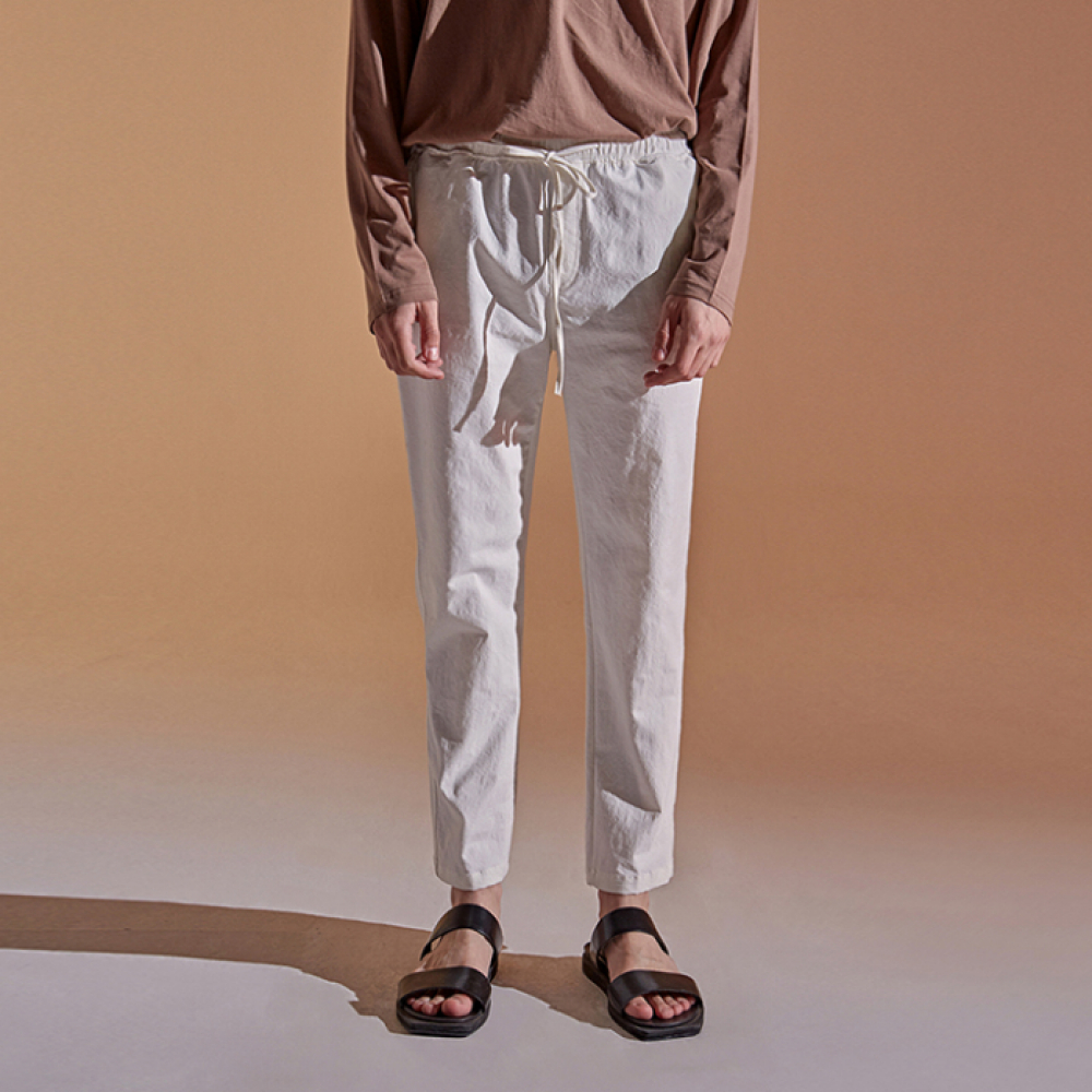 [DEANS] BANDING TAPERED COTTON PANTS_IVORY