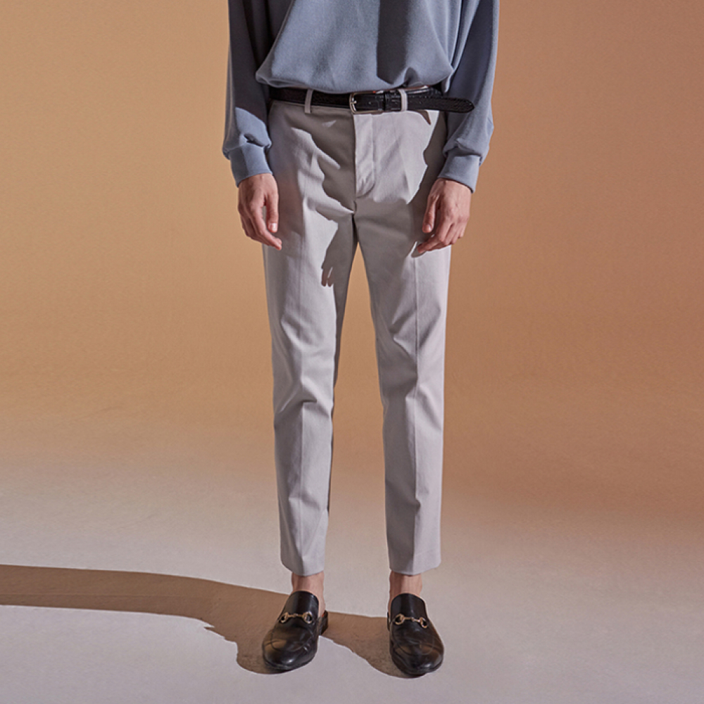 [DEANS] SLIM STRAIGHT COTTON PANTS_LIGHT GRAY