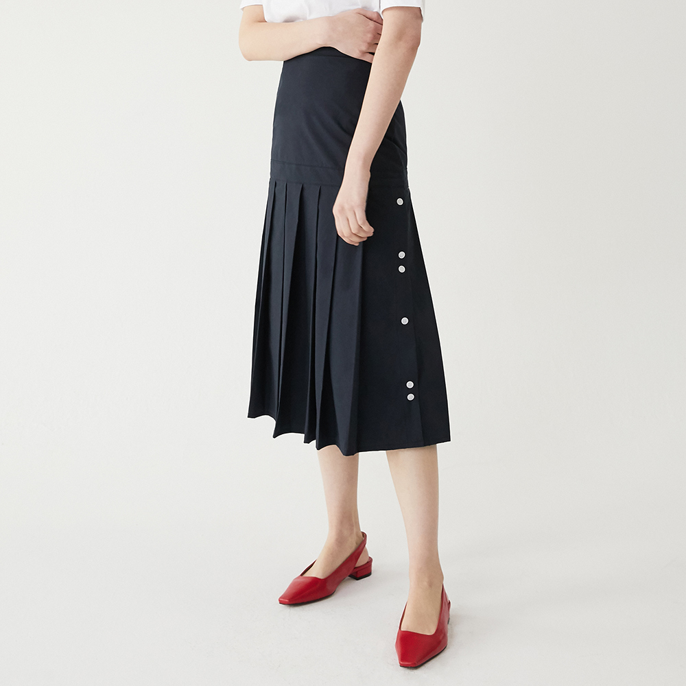 [루흠] TUNE PLEATS SK (NAVY)