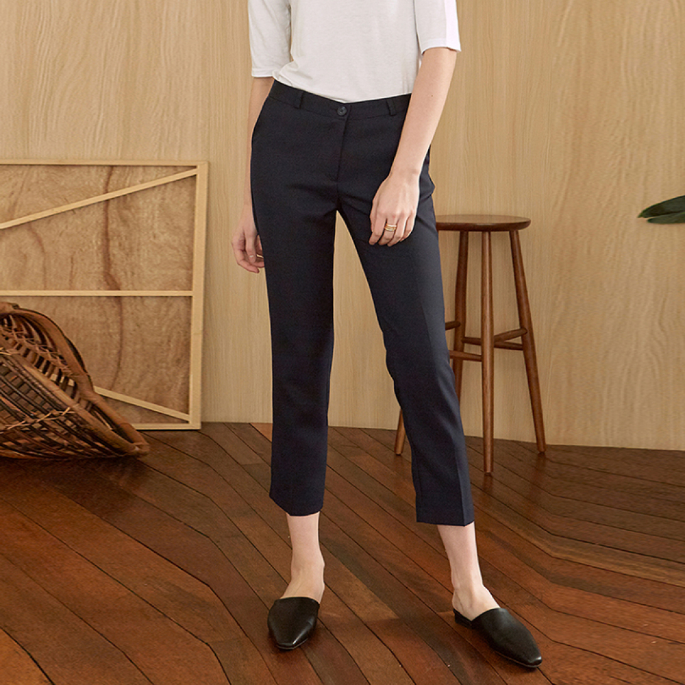 [DEANS] SLIM STRAIGHT CROP SLACKS_NAVY