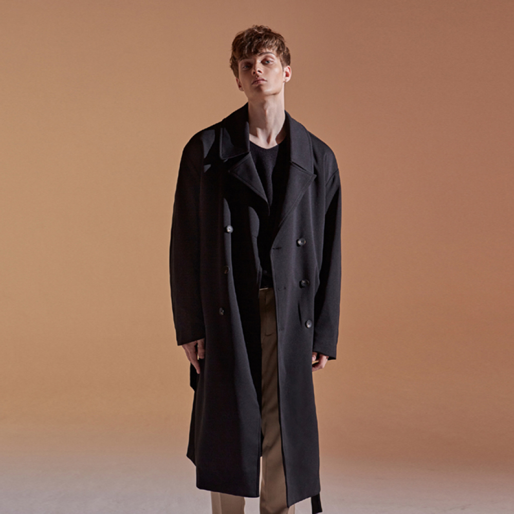 [DEANS] OVER STRAP DOUBLE COAT_BLACK