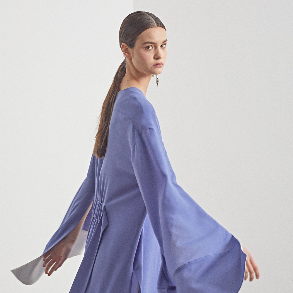 [MUSEE]  LUUN wide sleeve dress_Blue