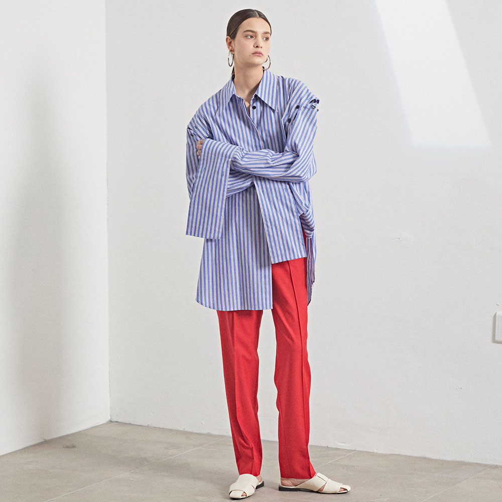 [MUSEE] Mid-rise wool blend pants