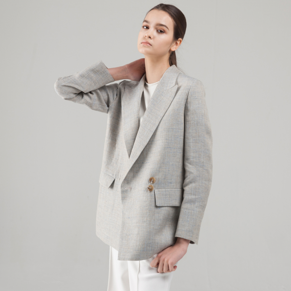 LINEN DOUBLE BREASTED JACKET[BBL]