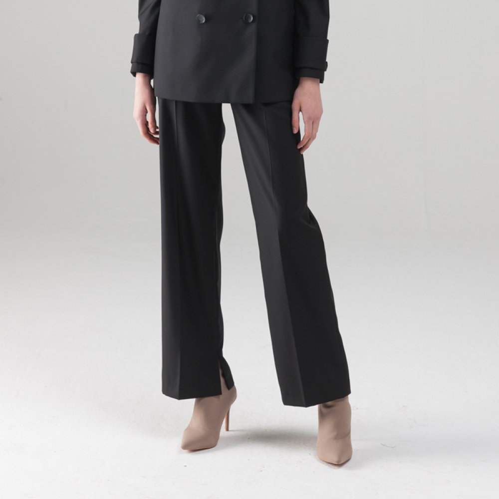 [노코시크] SLIT WIDE STRIGHT PANTS [BK]