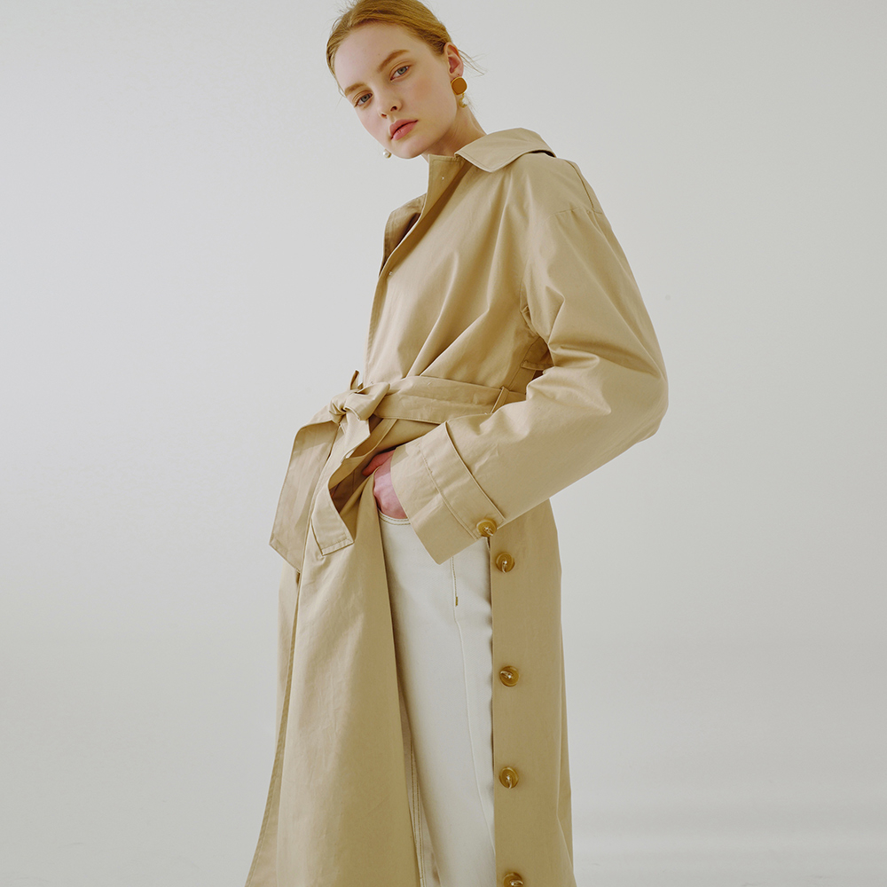 [루흠] HIDDEN SINGLE TRENCH CT (BEIGE)