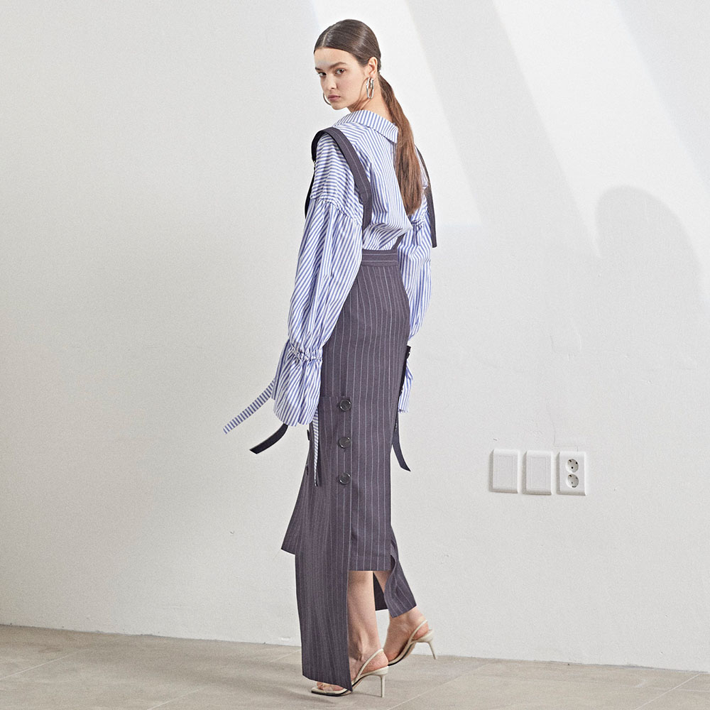 [MUSEE] Unbalance hem stripe dress