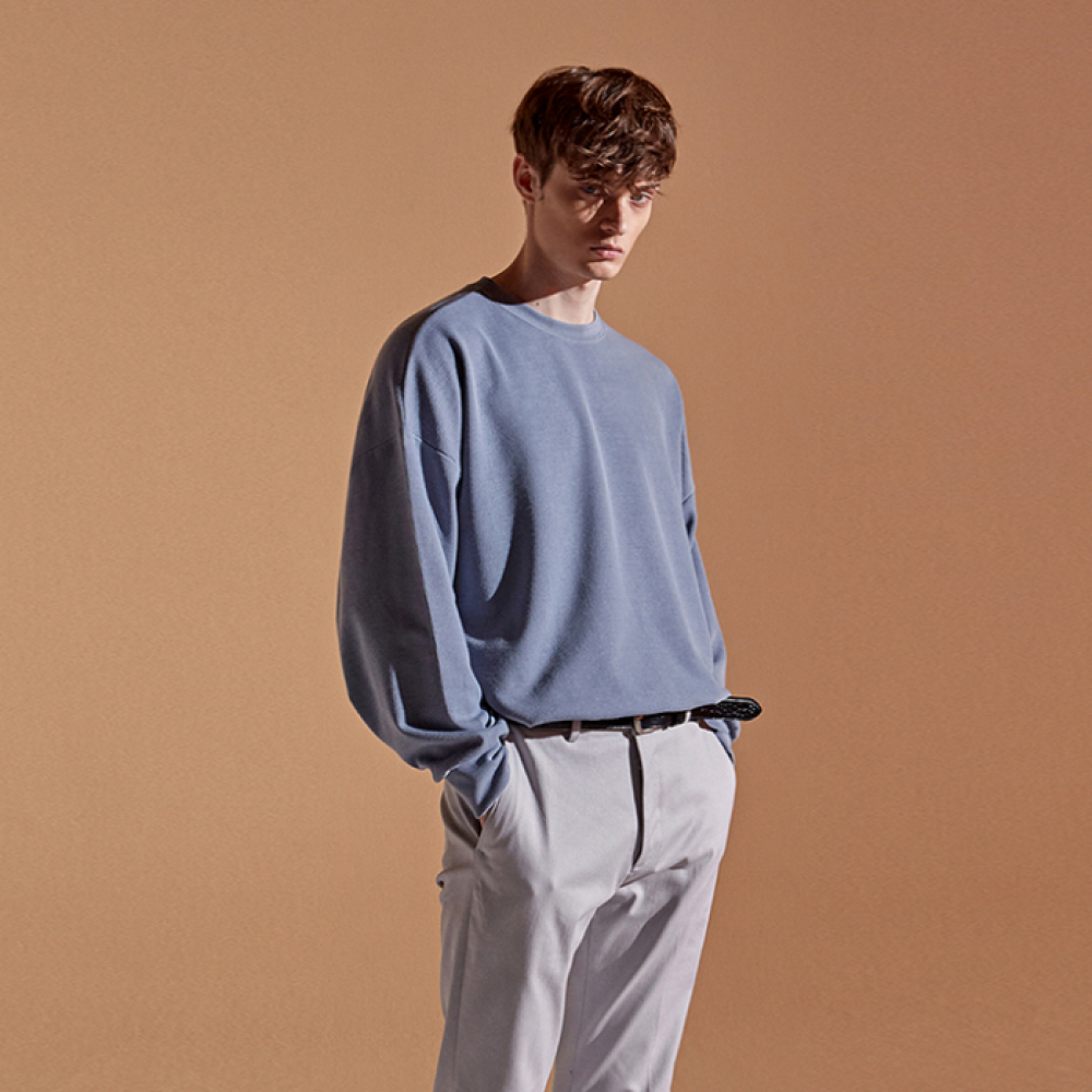 [DEANS] TEXTURE OVER CREW NECK_SKY BLUE