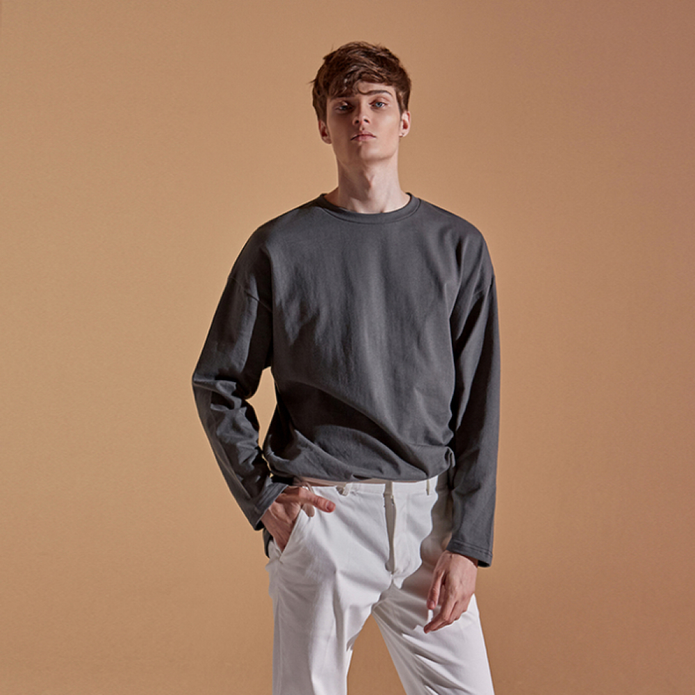 [DEANS] SOLID SLIT LONG T-SHIRTS_CHARCOAL