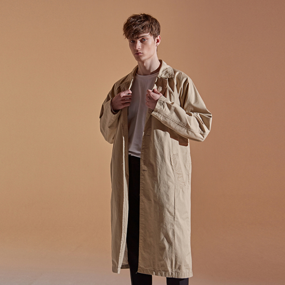 [DEANS] COTTON RAGLAN LONG COAT_BEIGE