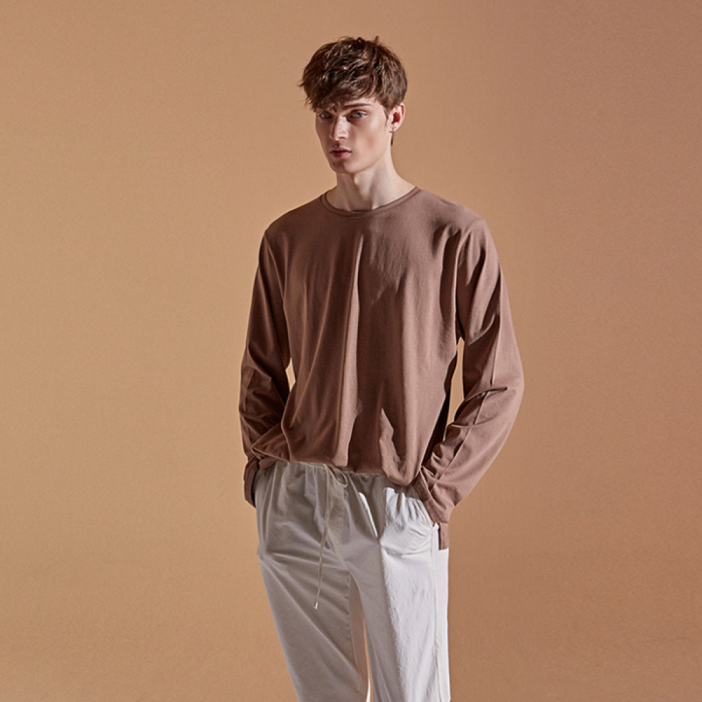 [DEANS] SOLID ROUND LONG T-SHIRTS_COCOA