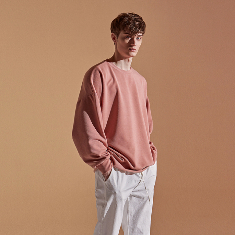 [DEANS] TEXTURE OVER CREW NECK_PINK