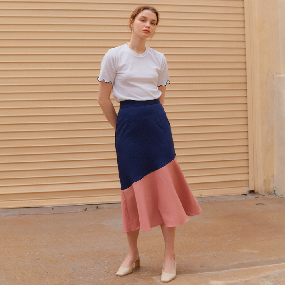 [엽페]COLOR BLOCK FLARE SKIRT_NAVY