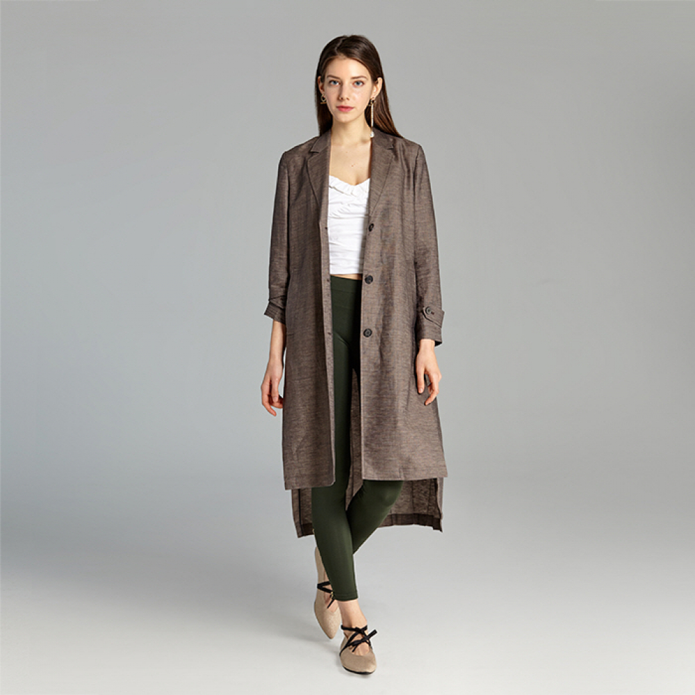 [JUN BY JUN K] Pleated Back Linen Trench (Brown)