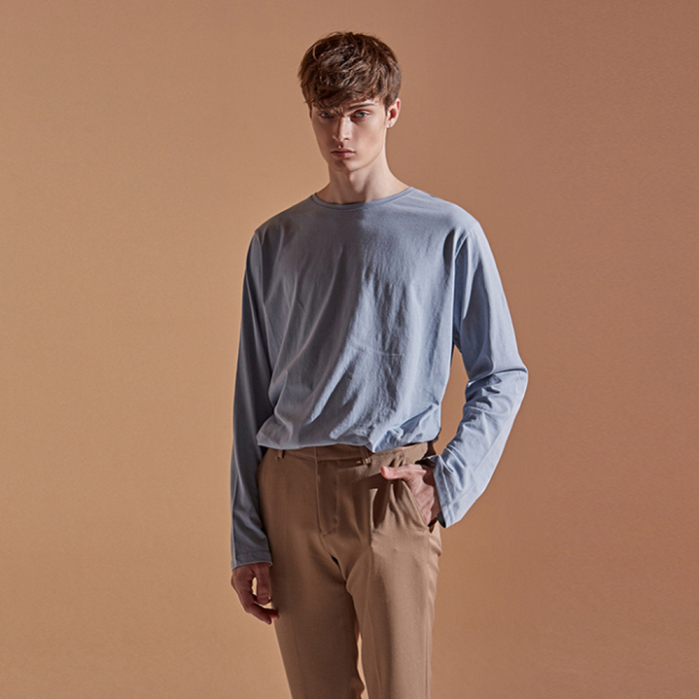 [DEANS]SOLID ROUND LONG T-SHIRTS_SKY BLUE