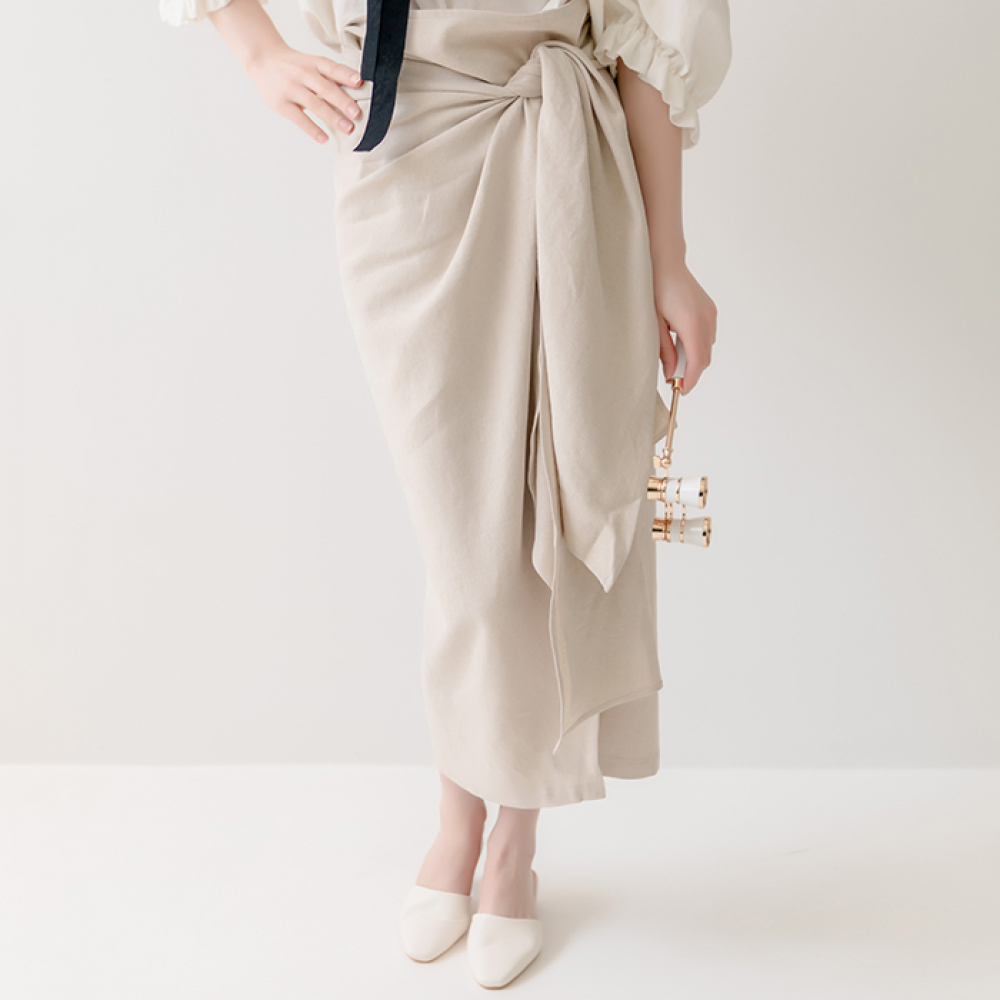 [320쇼룸]Linen Wrap Snap Skirt Beige