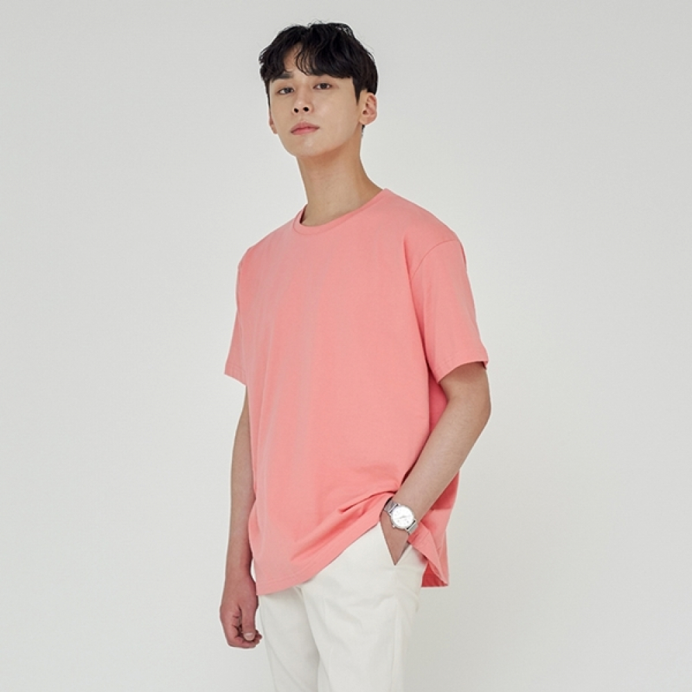 LOOSE FIT SILKET T-SHIRTS CORAL