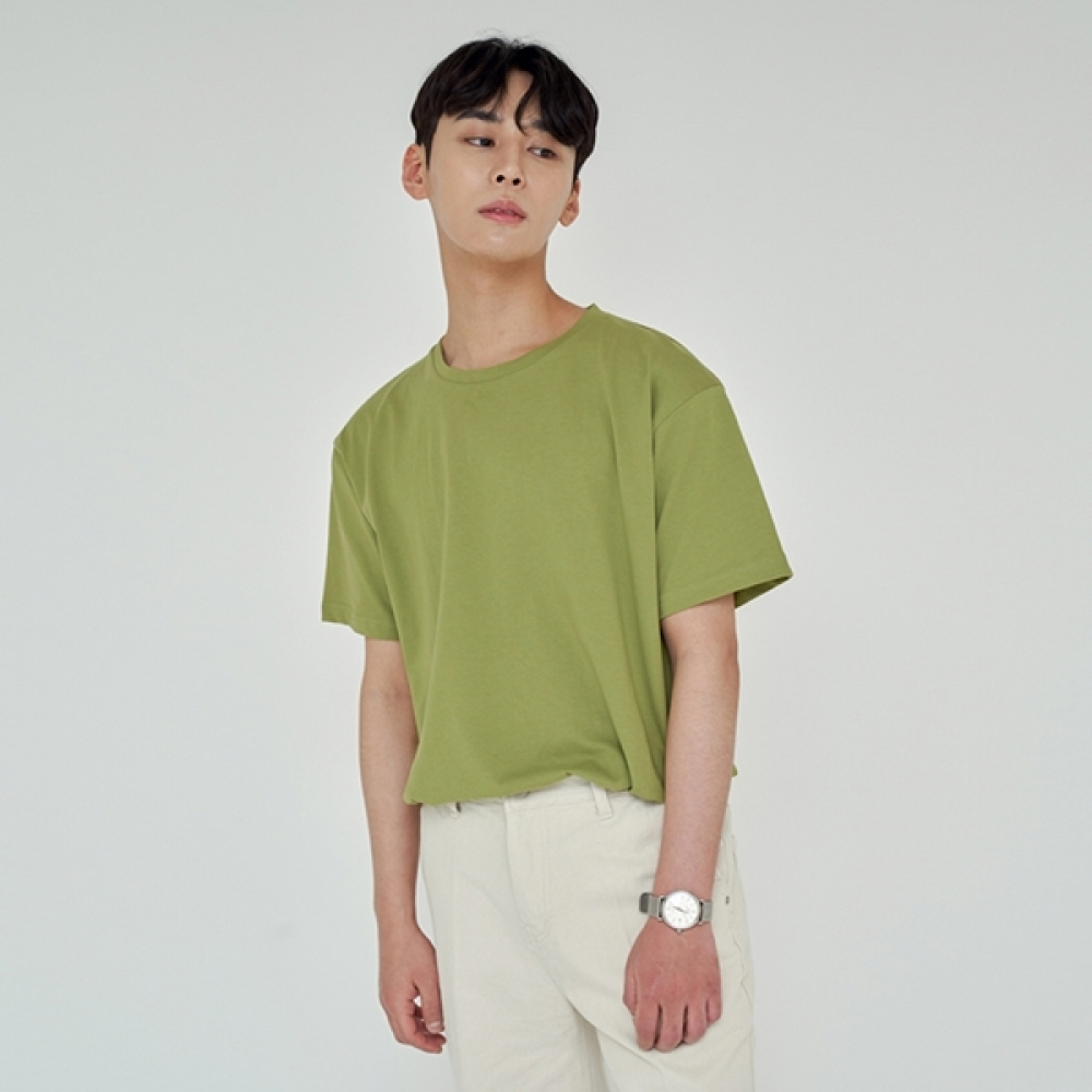 LOOSE FIT SILKET T-SHIRTS YELLOW GREEN