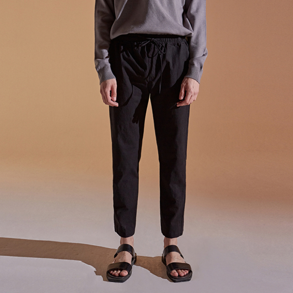 [DEANS] BANDING TAPERED COTTON PANTS_BLACK