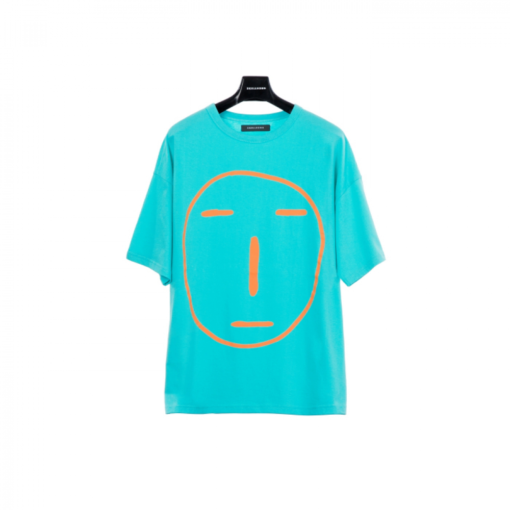 [스컬홍] POKER FACE T-SHIRT (BLUE GREEN)
