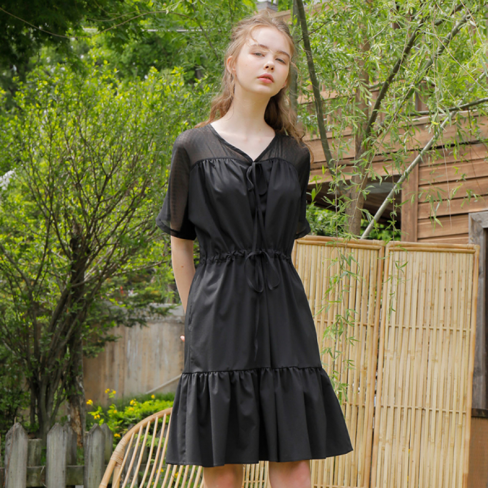 [와드로브] SHOULDER CHIFFON ONE-PIECE_BLACK
