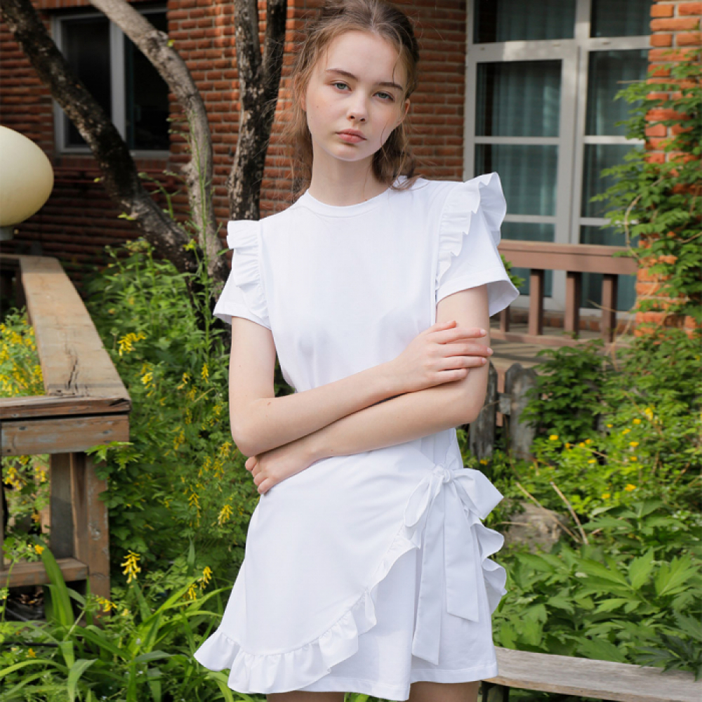 [와드로브] FRILL LAYERED MINI ONE-PIECE_WHITE