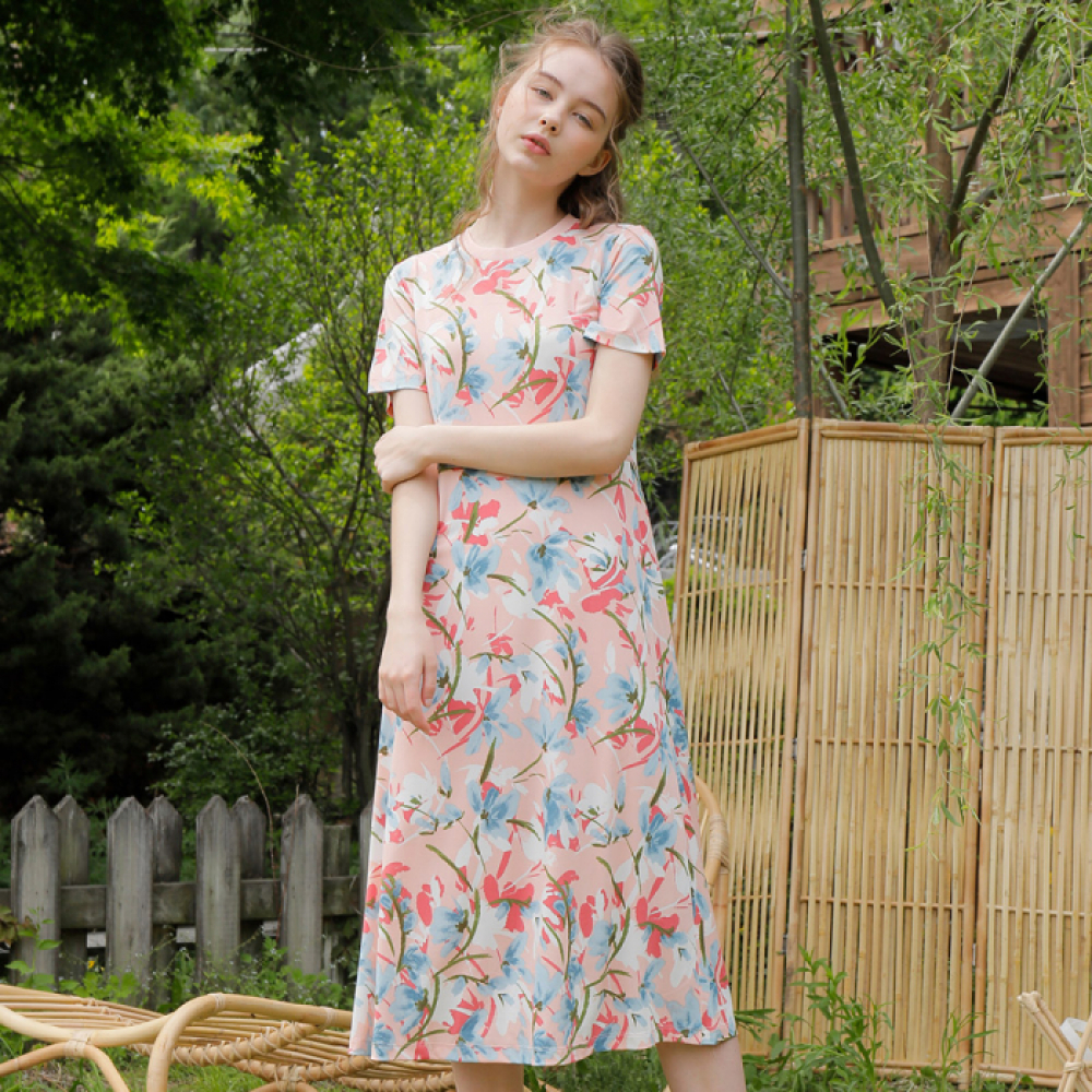 [와드로브] FLORAL LONG ONE-PIECE_PINK
