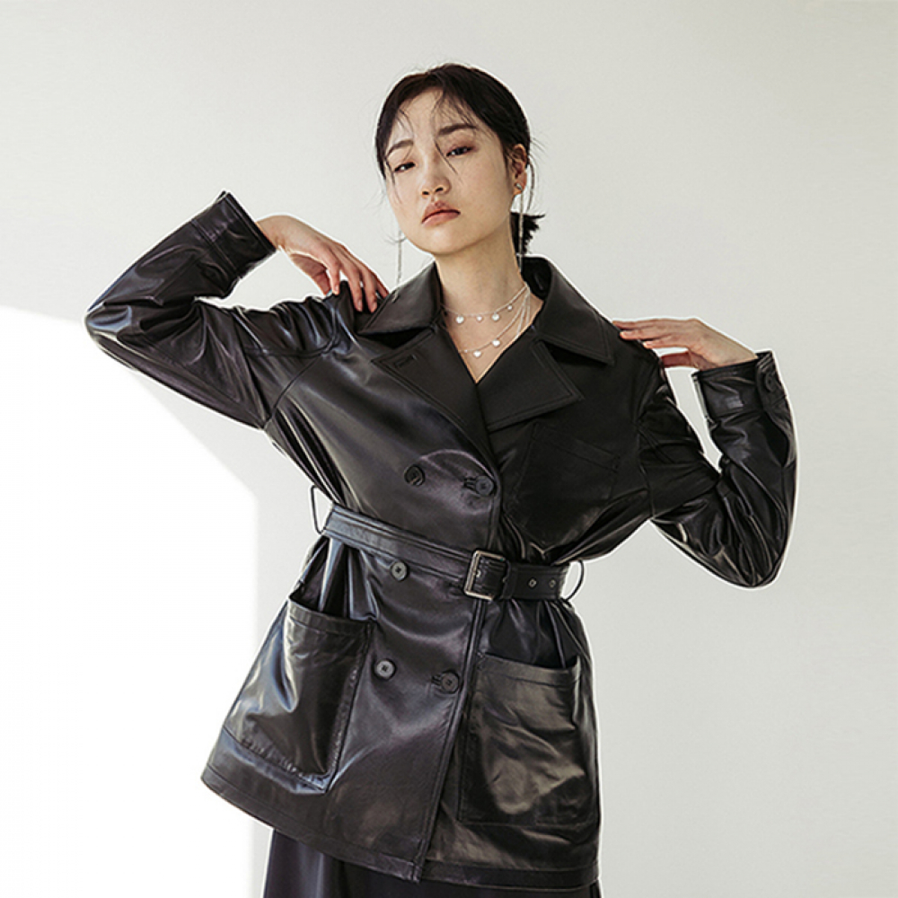 [스페로네] LAMB SKIN SHORT TRENCHCOAT [BLACK]