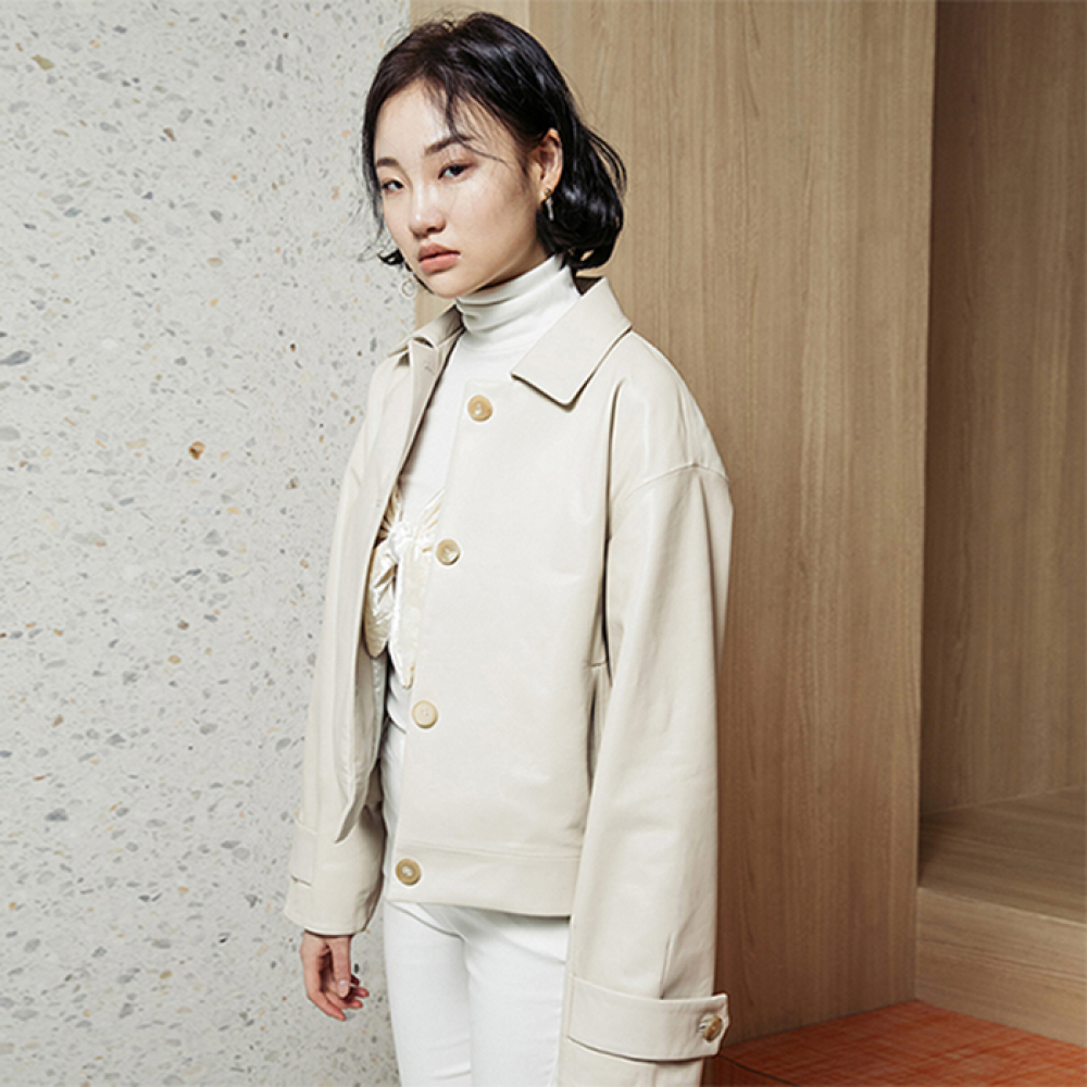 [스페로네]LAMB SKIN SHORT LEATHER JACKET [IVORY]