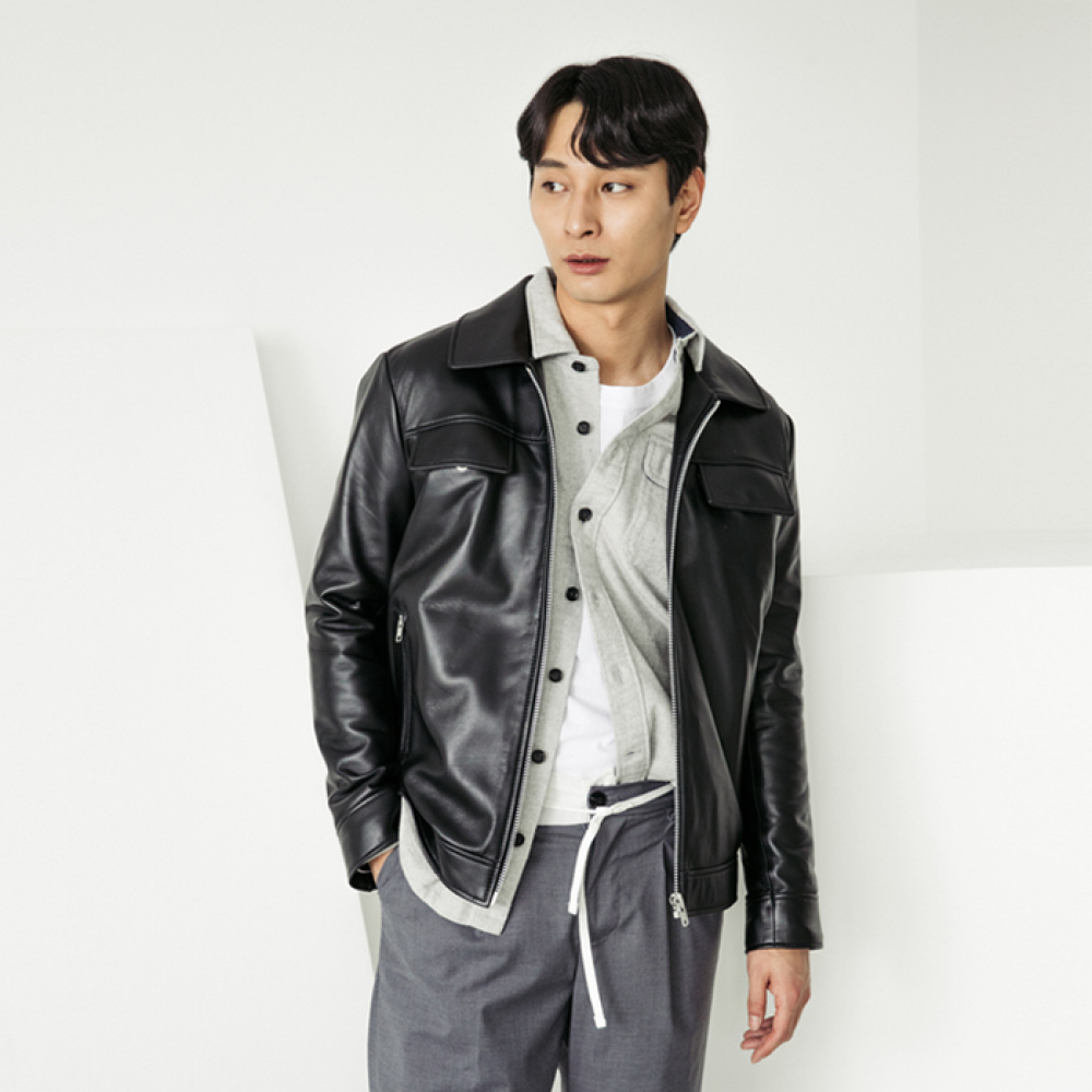 [스페로네]LAMB SKIN POCKET LEATHER JACKET [BLACK]