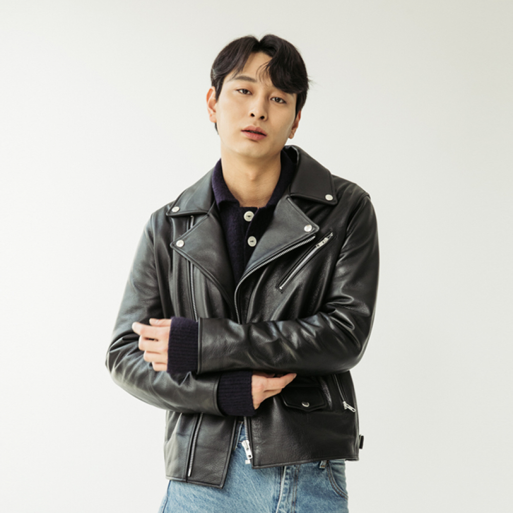 [스페로네] CALF SKIN 90 Rider JACKET [BLACK]