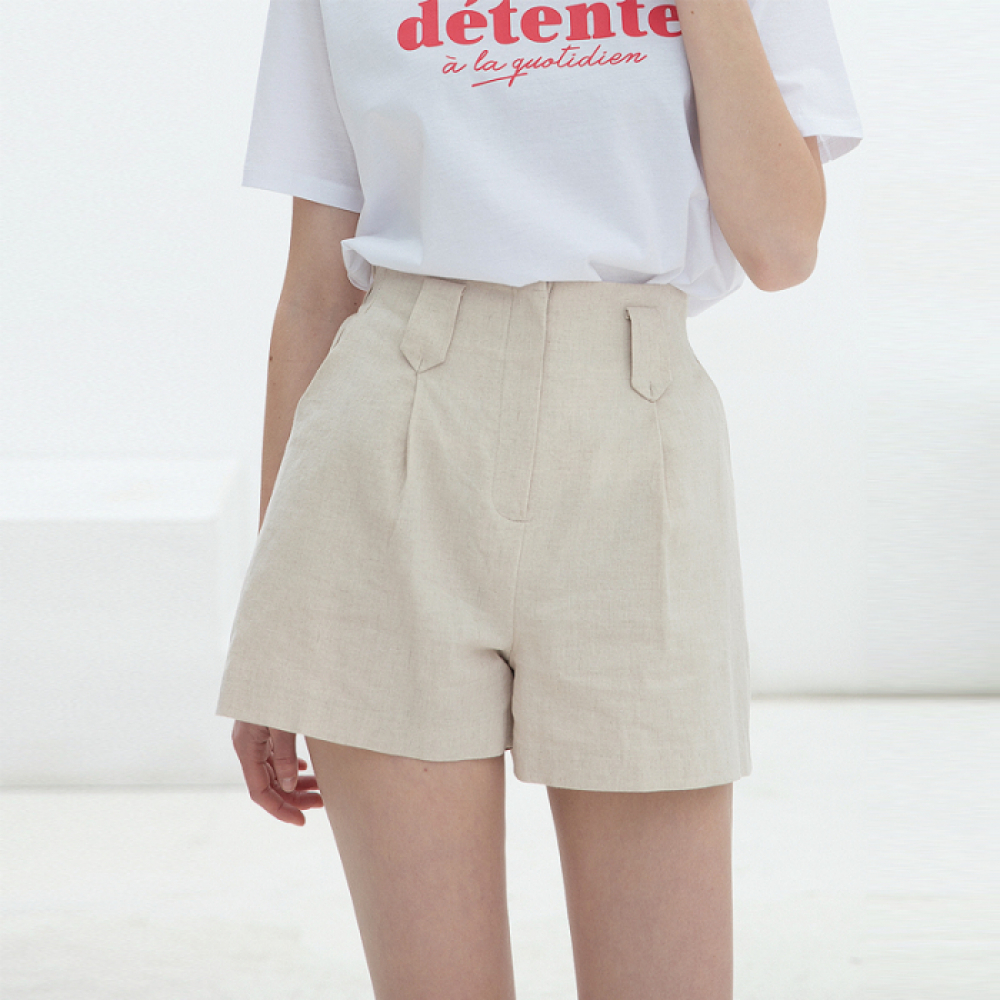 [클렛]LINEN BAND HALF PANTS BEIGE