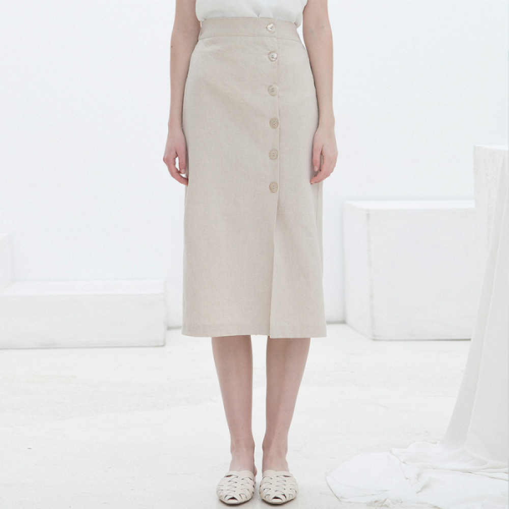 [클렛]LINEN SHELL BUTTON SKIRT BEIGE