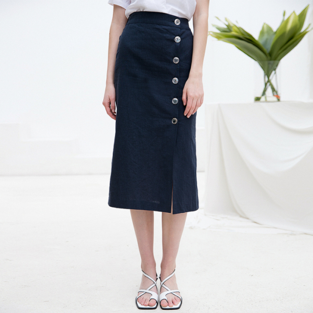 [클렛]LINEN SHELL BUTTON SKIRT NAVY