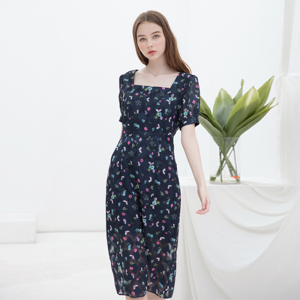 [클렛]SQUARE TUCK DRESS NAVY