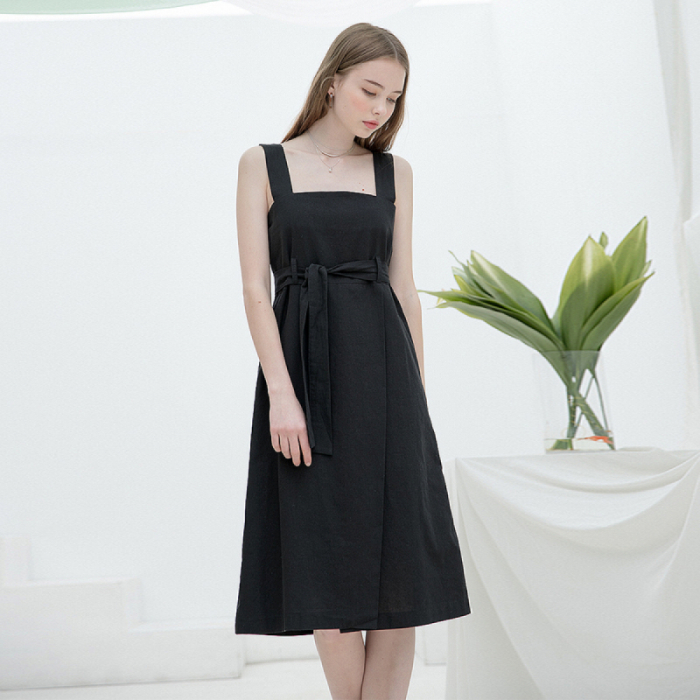 [클렛]LINEN SLEEVELESS DRESS BLACK