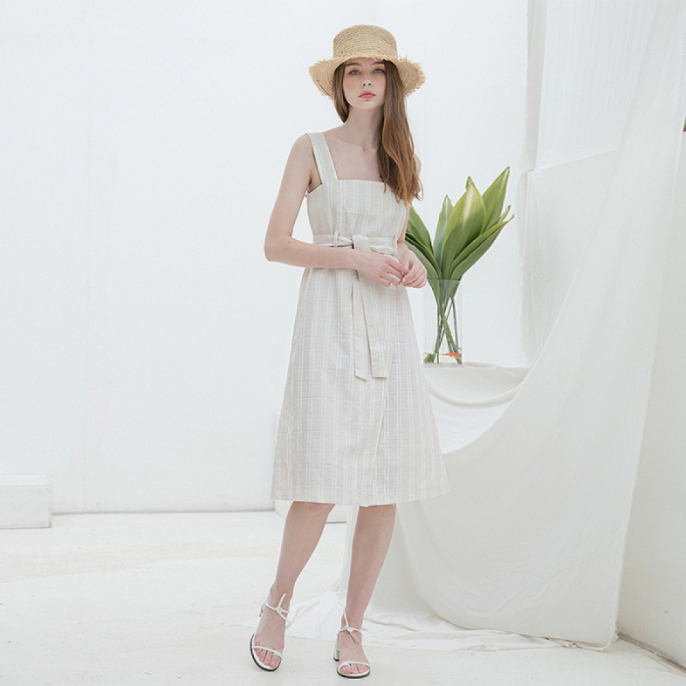[클렛] LINEN CHECK SLEEVELESS DRESS BEIGE