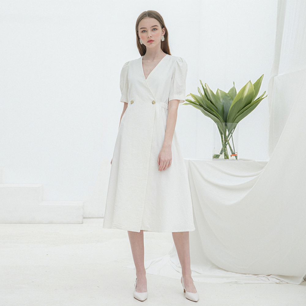 [클렛] LINEN WARP BUTTON DRESS WHITE