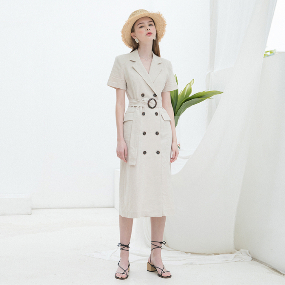 [클렛] LINEN LONG JACKET DRESS BEIGE