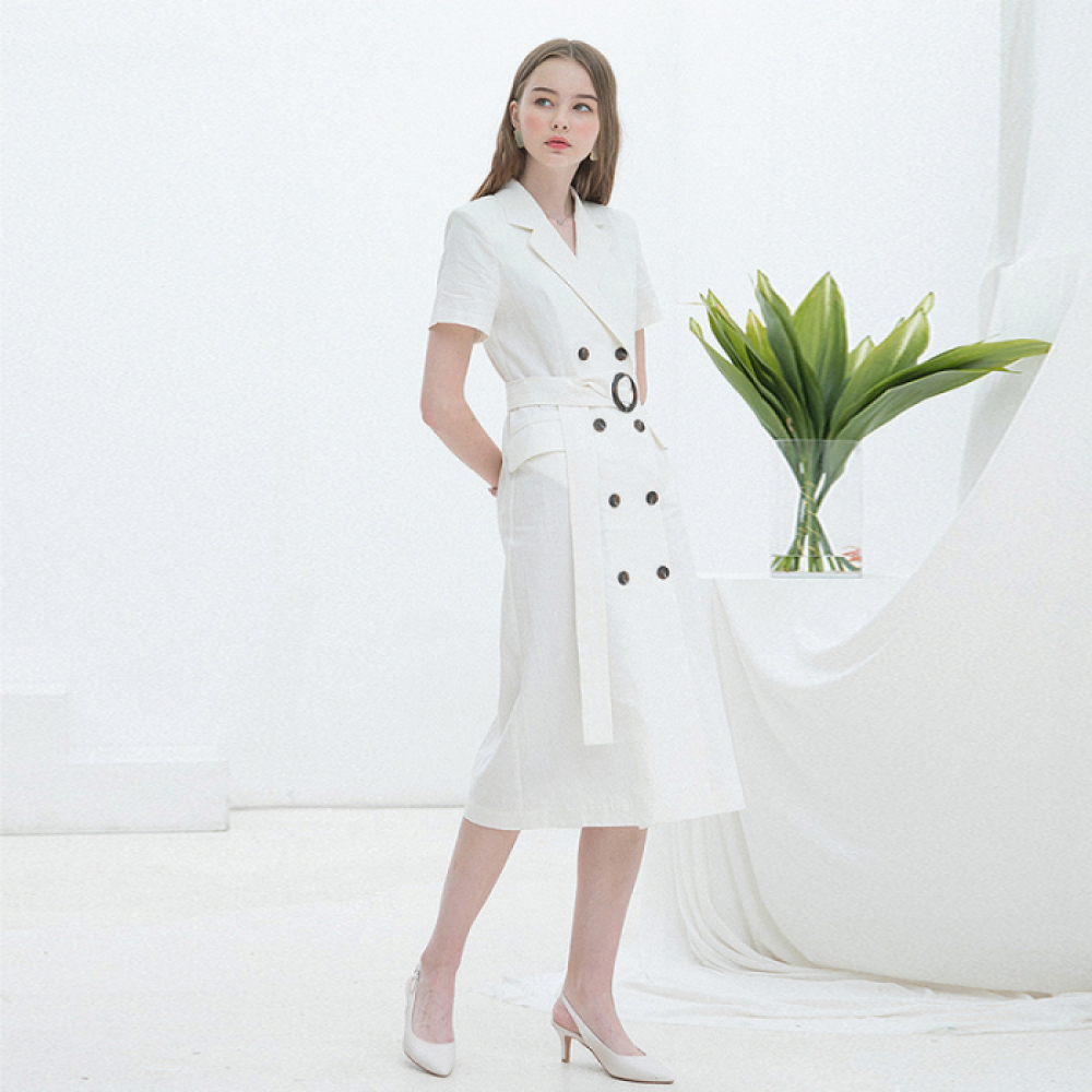 [클렛] LINEN LONG JACKET DRESS WHITE