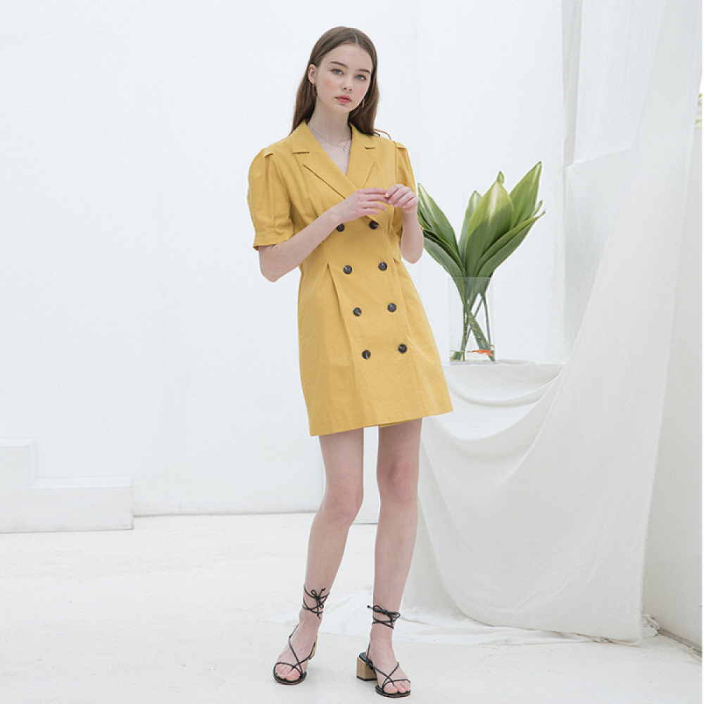 [클렛] LINEN PUFF JACKET DRESS MUSTARD/NAVY