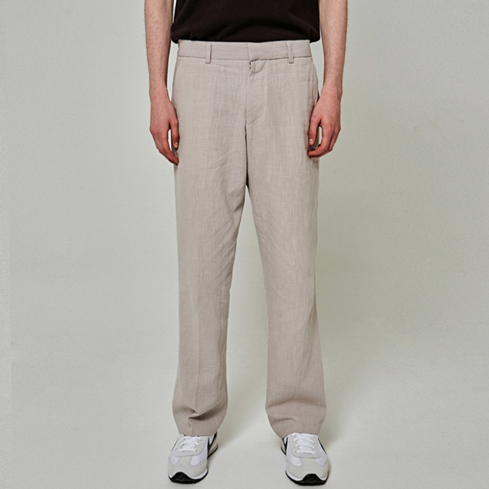 [YAN13] CLEAR STAND STRAIGHT SLACKS_LIGHT BEIGE